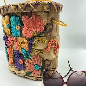 Embroidered woven basket purse